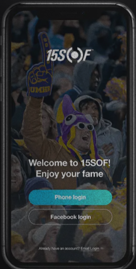 The 15SOF app essentially inserts a video board inside a fan's phone.