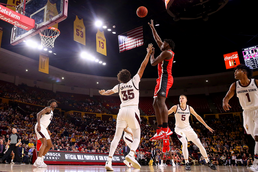 Georgia guard Anthony Edwards rises above the defense of Arizona State last December. (Christian Petersen/Getty Images)