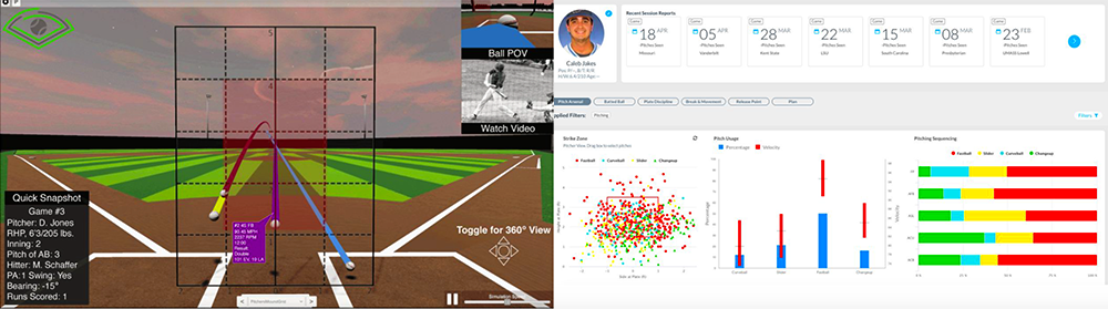 Examples of the BaseballCloud interface.