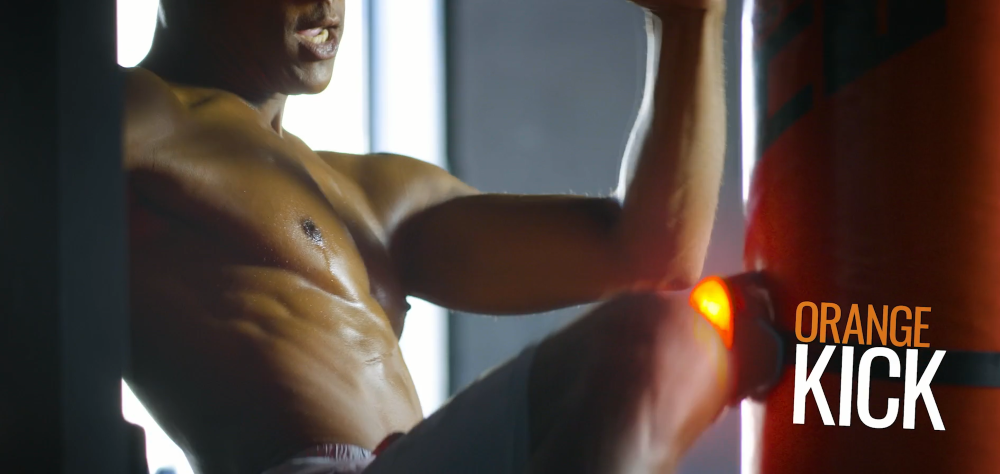 MMA athletes can train by kicking the lit BlazePod.