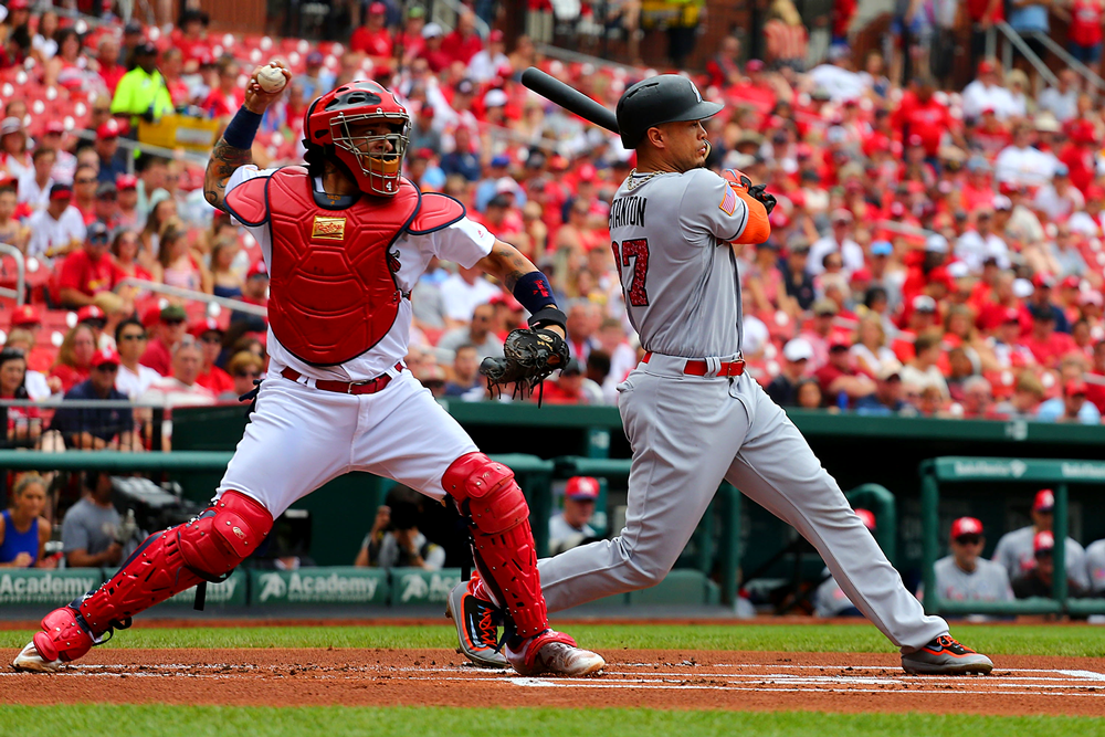 St. Louis Cardinals catcher Yadier Molina throws out a runner to complete a strike-him-out-throw-him-out double play in July 2017. (Dilip Vishwanat/Getty Images)