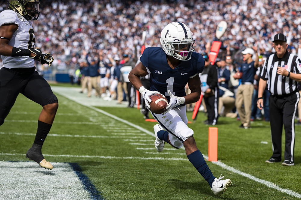 K.J. Hamler finds the end zone against Purdue last October. (Scott Taetsch/Getty Images)