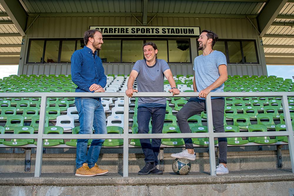 From l. to r., Metrica Sports founders Bruno Dagnino, Ruben Saavedra and Enzo Angilletta.
