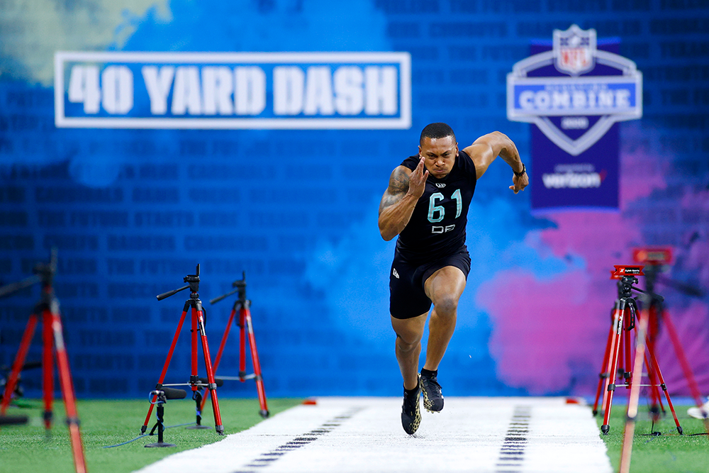 The high-tech setup of the 40-yard dash at the 2020 NFL combine in Indianapolis. (Joe Robbins/Getty Images)