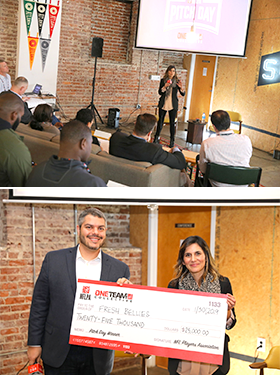 Saskia Sorrosa making her winning pitch at last year's NFLPA Pitch Day.