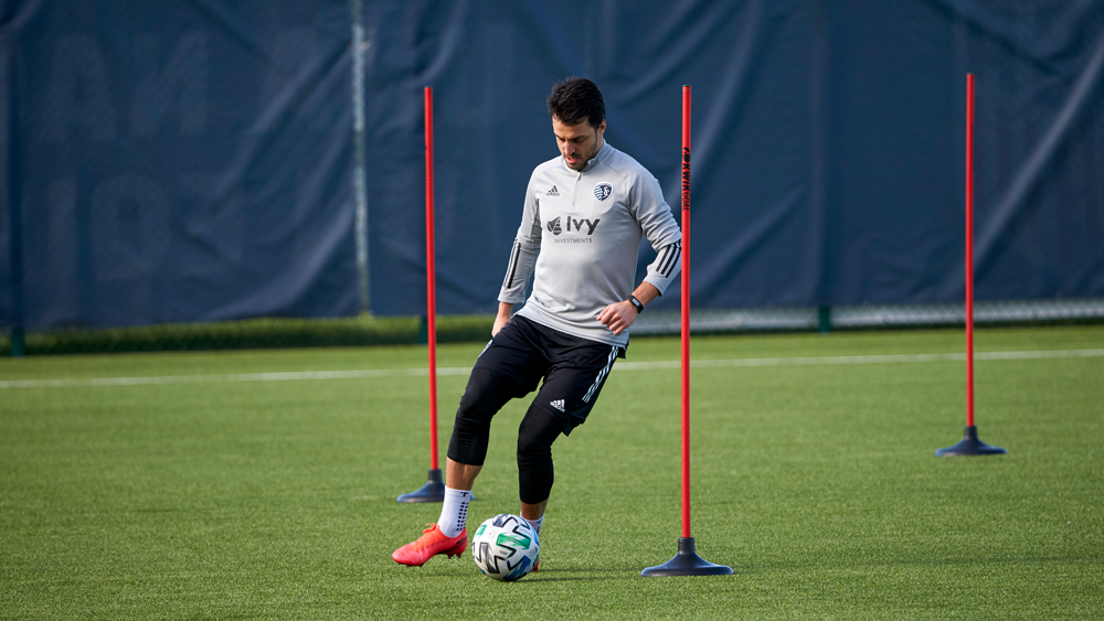 Sporting KC had players do drills in early May at a socially distant practice. (Gary Rohman/Sporting Kansas City)