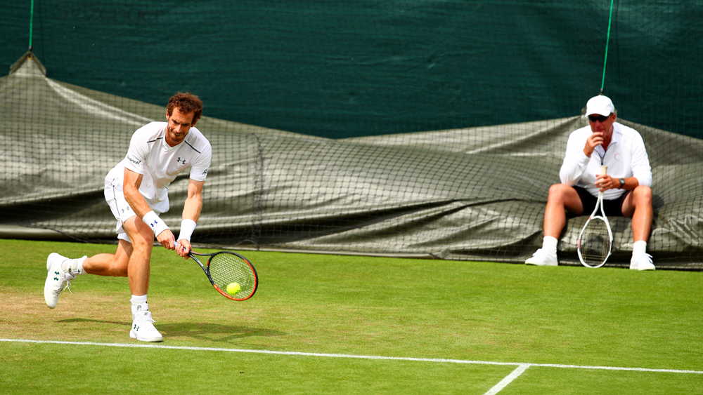 Lendl training Andy Murray at Wimbledon in 2017. (Clive Brunskill/Getty Images)