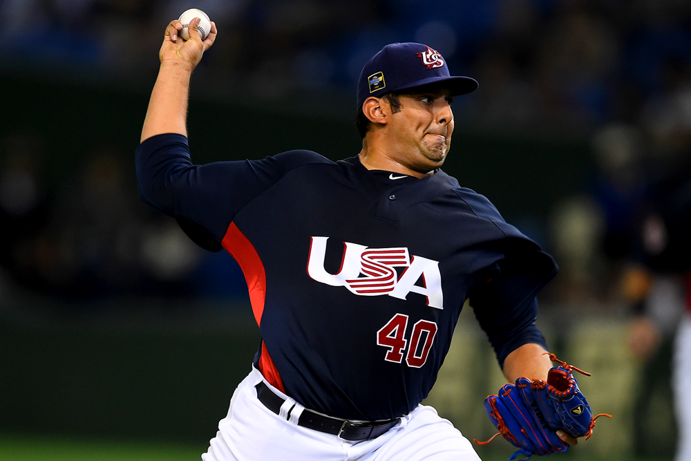 Zack Segovia pitches against South Korea in 2015. (Masterpress/Getty Images)
